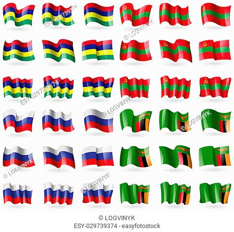 Mauritius, Transnistria, Russia, Zambia. Set of 36 flags of the countries of the world. illustration