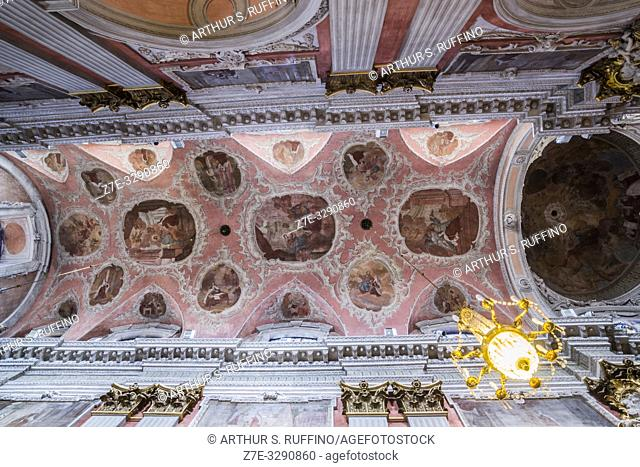 Low-angle view of the ceiling of the Church of St. Teresa, Vilnius, Lithuania, Baltic States, Europe