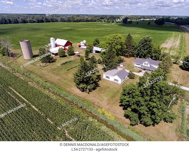 Aerial view of a small family farm near Lexington Michigan