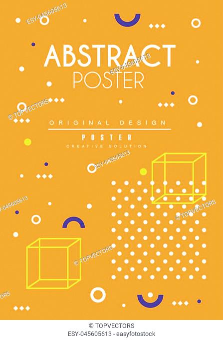 Abstract poster, orange bright placard template, creative graphic design for banner, invitation, flyer, cover, brochure vector Illustration, web design