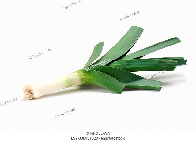 Leeks on a white background