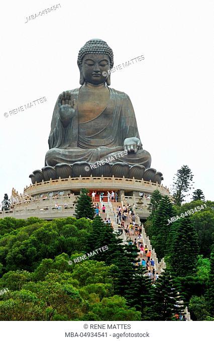 China, Hong Kong, Lantau Island, Ngong Ping,The Worlds Largest Outdoor Seated Bronze Buddha Statue at the Po Lin Monastery