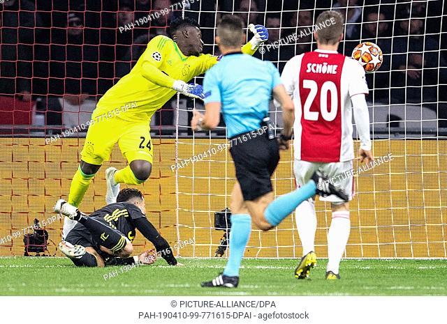 10 April 2019, Netherlands, Amsterdam: Soccer: Champions League, Ajax Amsterdam - Juventus Turin, quarter-finals, first leg in the Johan Cruyff ArenA: Turins...