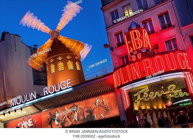 Moulin Rouge (1889), world famous Cabaret, Pigalle, Paris France
