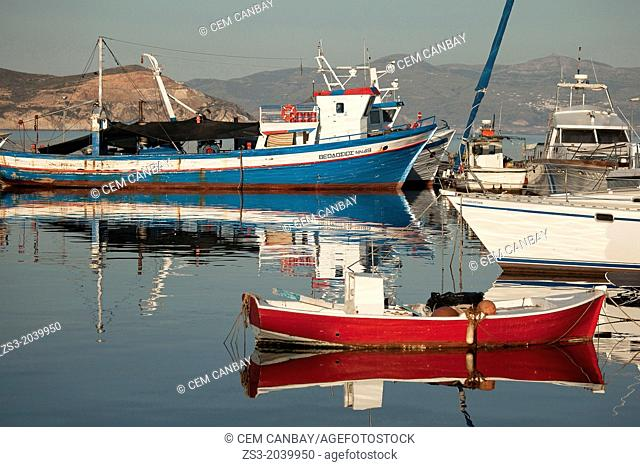 Fishing boats inside the harbour, Naxos, Cyclades Islands, Greek Islands, Greece, Europe