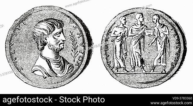 Sallust Medal. Gaius Cilnius Maecenas (68-8 BC) Roman diplomat, counsellor to the Roman emperor Augustus, Ancient roman empire. Italy, Europe