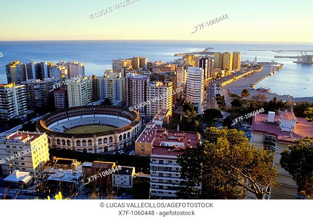 Málaga Andalusia  Spain: High angle view of a bullring and Malagueta quarter