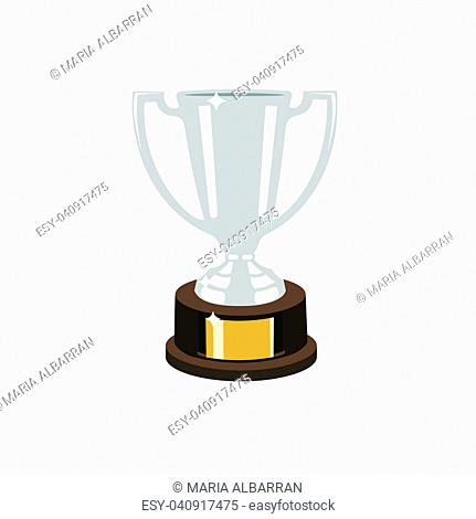 Trophy silver cup flat design on a white background. Vector illustration