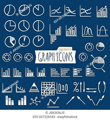 Business charts. Hand Draw style. Set of thin line graph icons. Outline. Vector illustration
