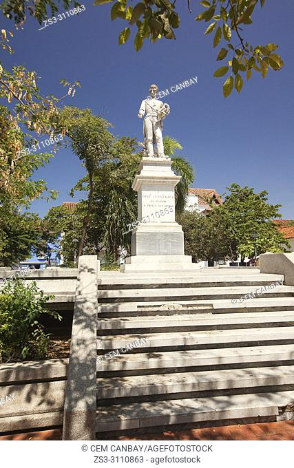 Monument dedicated to Jose Fernandez De Madrid in Barrio De San Diego district at the historic center, Cartagena de Indias, Bolivar, Colombia, South America