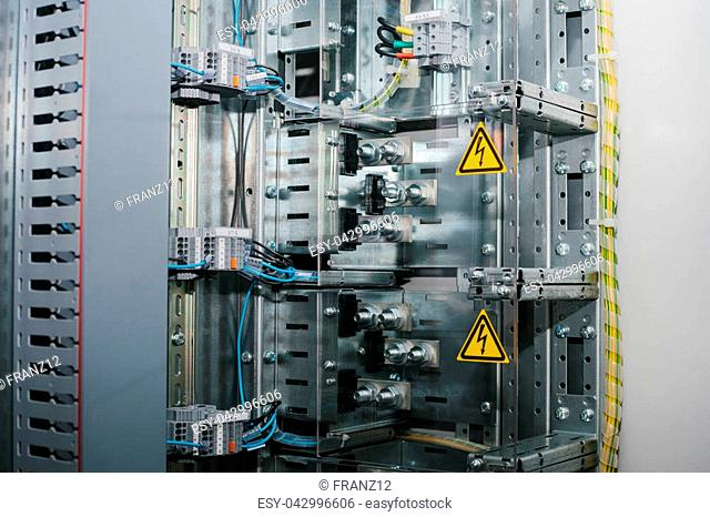 Low-voltage cabinet. Modern smart technologies in the electric power industry. The use of electrical energy in industry. Uninterrupted power