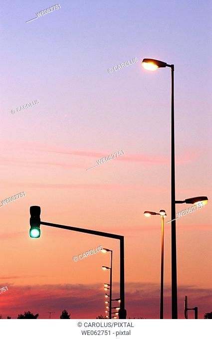 Traffic signalling and public lighting, Lunéville, Meurthe-et-Moselle. Lorraine, France