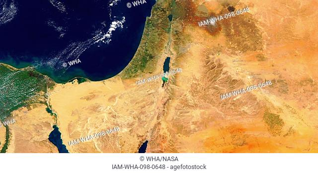 Satellite image showing the Sinai and Negev regions and the shrinking of the Dead Sea in Israel. 2017