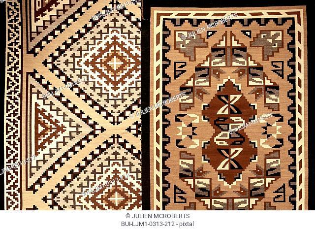 Detail of two grey hills weaving; Santa Fe; New Mexico; USA