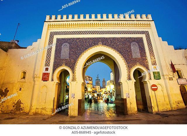 Bab Bou Jeloud gate, main entrance to Fes medina, Fes el Bali, Fes, Morocco