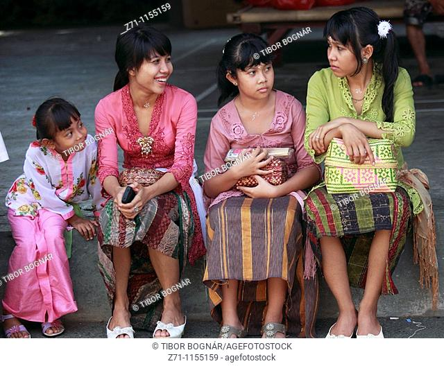 Indonesia, Bali, Mas, temple festival, young girls, odalan, Kuningan holiday