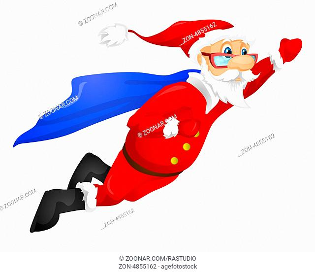 Cartoon Character Santa Claus Isolated on Grey Gradient Background. Super hero. Vector EPS 10