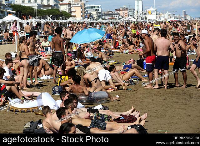 People on the Jesolo beach , ITALY-27-06-2020