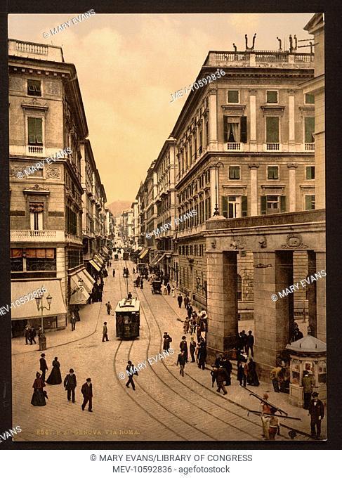 Via Roma, Genoa, Italy. Date between ca. 1890 and ca. 1900