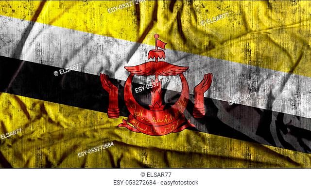 Grunge crumpled Brunei flag background with dirt. 3d rendering