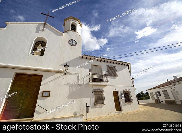 Altea la vella village in Costa Blanca Alicante Spain on February 8, 2021. The parish church