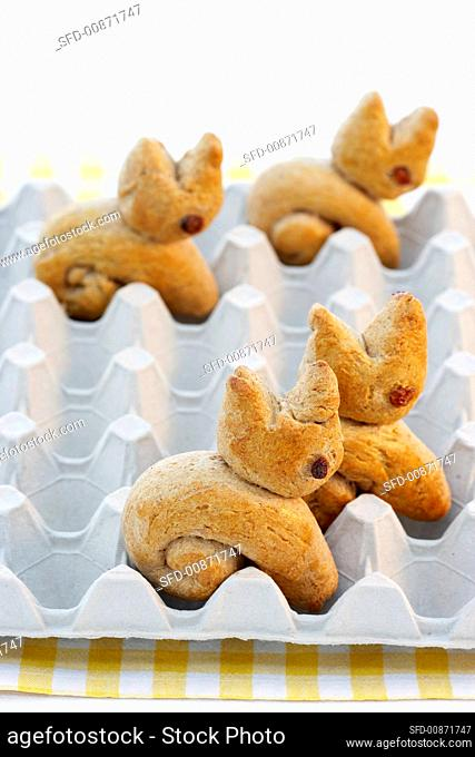 Baked Easter Bunnies in an egg tray