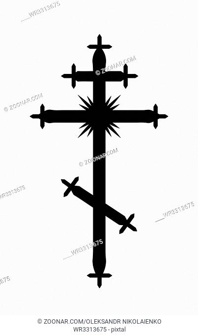 The Greek-Catholic Orthodox eight-pointed Cross. Christian symbol of The Faith, Redemption and Absolution of sins, Resurrection of The Dead