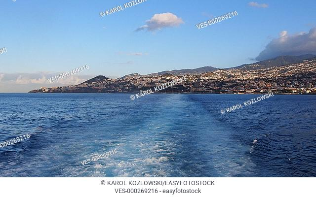 View from the ferry leaving Madeira Island, Portugal