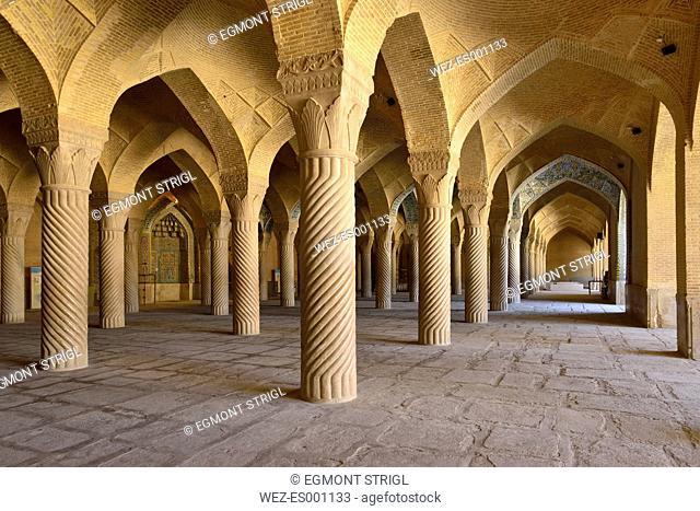 Iran, Fars, Shiraz, historic Shabestan pillars in the prayer hall of Vakil Mosque