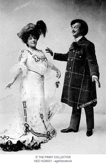 Ada Blanche and JR Hale in a scene from The Medal and the Maid, 1909. Blanche and Hale are playing the parts of 'Mrs Habbicombe' and 'Pentweazle' respectively
