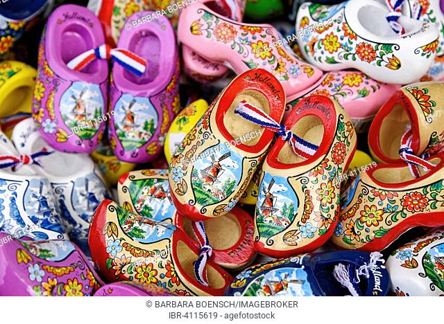 Colourful wooden Dutch shoes with windmill motif, souvenirs, province of North Holland, The Netherlands
