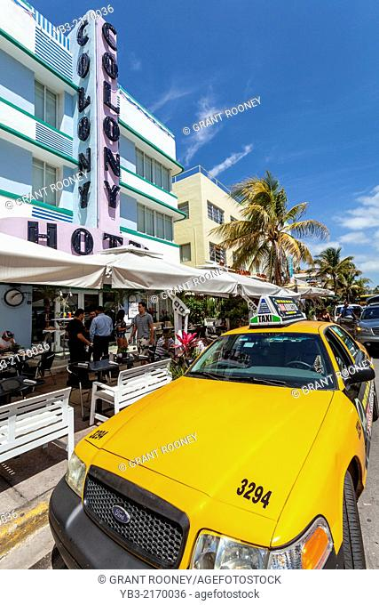 The Colony Hotel and Yellow Miami Taxi, South Beach, Miami, Florida, USA