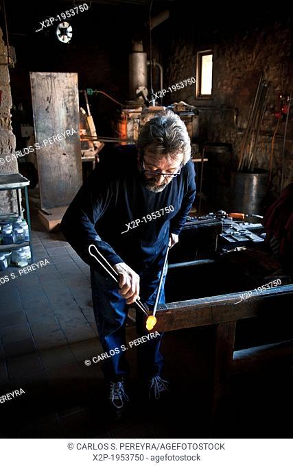Talller Paco Ramos, master glassmaker in Vimbodi, Tarragona, Catalonia, Spain