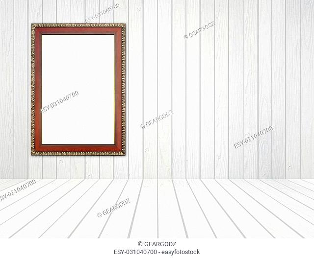 blank wood frame in room with white wood wall and wood floor background