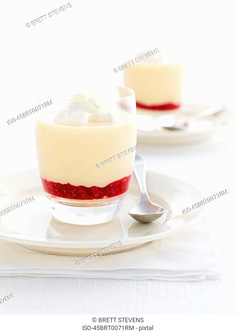 Glass of fruit and pudding