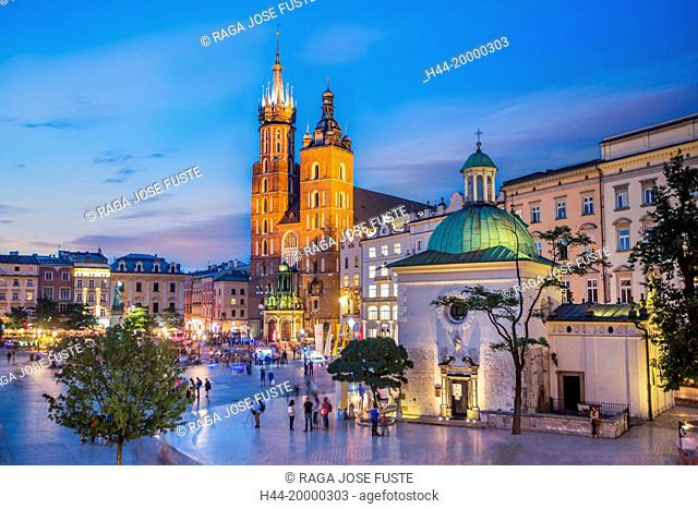Market Square in Krakow City by night