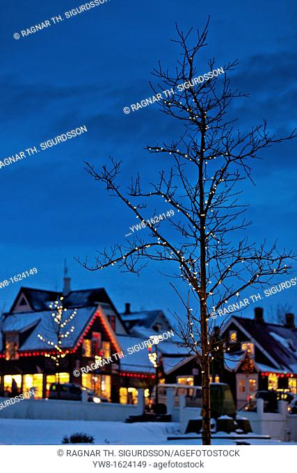 Christmas time-Laugavegar, the main shopping street of downtown Reykjavik, Iceland