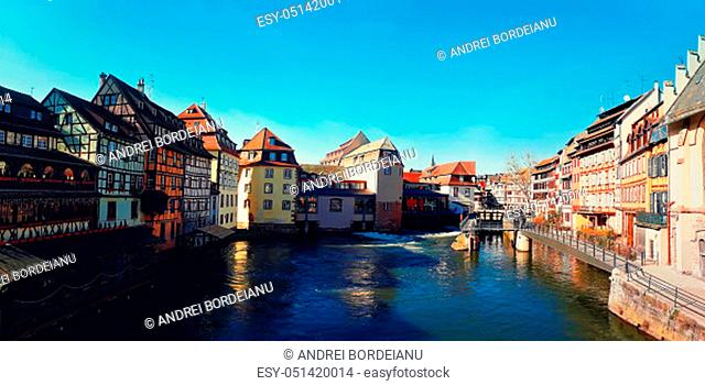 Traditional half-timbered houses on picturesque canals in La Petite France, the medieval fairytale town of Strasbourg, UNESCO World Heritage Site, Alsace