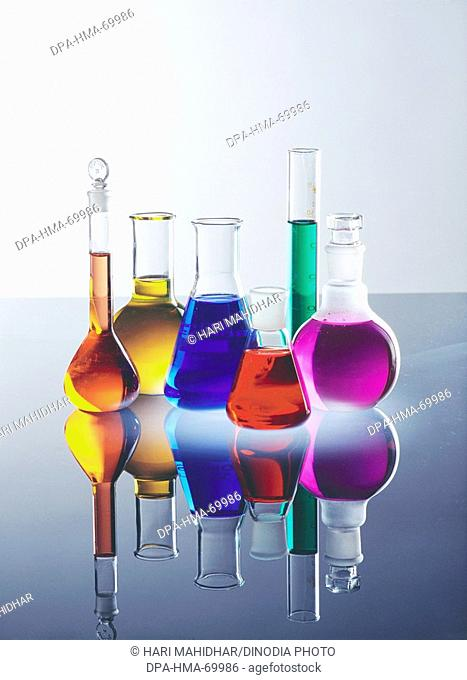 Various beaker and colourful chemical in laboratory