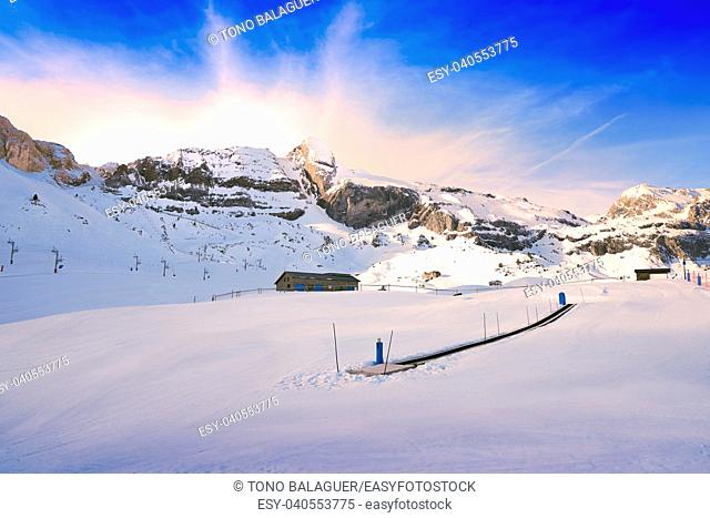 Candanchu ski in Huesca on Canfranc Pyrenees at Spain