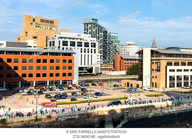 England, Europe, Liverpool, Merseyside, new, modern, buildings,on the waterfront, construction