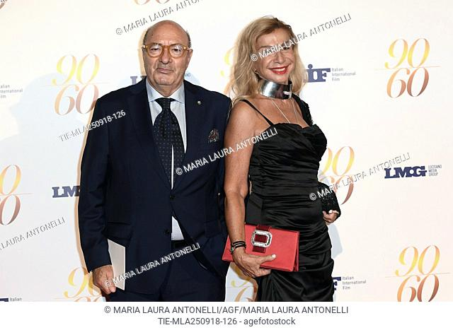 Dante Ferretti, Francesca Lo Schiavo during red carpet of 60/90 party, for 60 years of career and ninetieth birthday of Fulvio Lucisano, Italian Film Producer