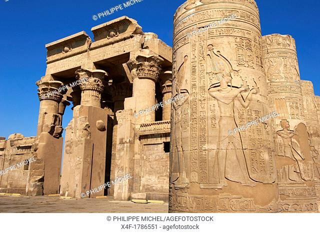 Egypt, Nile valley, cruise on the Nile river between Luxor and Aswan, Kom Ombo, Temple of Sobek and Horus