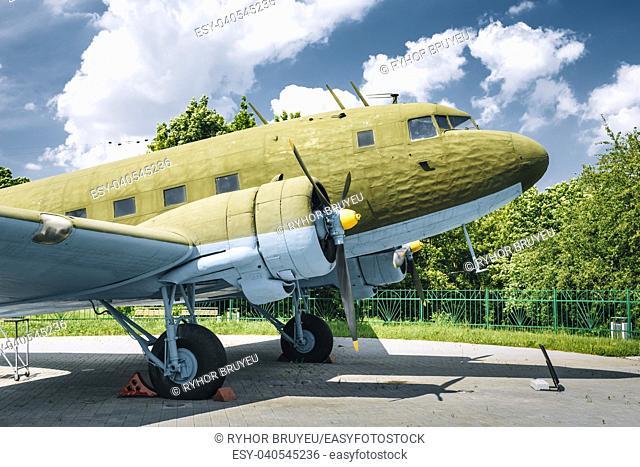 MINSK, BELARUS - June 2, 2015: Lisunov Li-2 of Soviet Air Force standing near building Belorussian Museum Of the Great Patriotic War In Minsk, Belarus