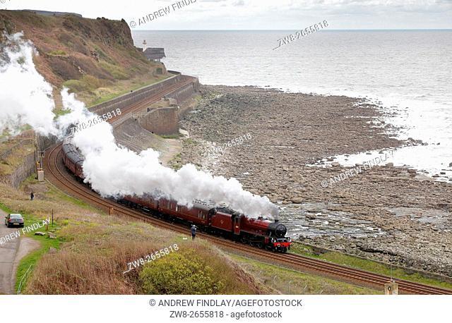 Steam train LMS Jubilee Class 45699 Galatea. Tanyard Bay, Parton, Whitehaven, Cumbria, England, United Kingdom, Europe