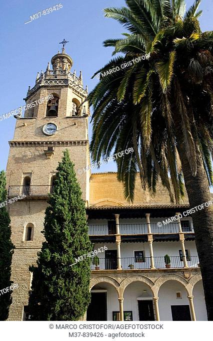 Church of Santa Maria la Mayor in Plaza Duquesa de Parcent, Ronda, White Towns of Andalusia. Malaga province, Andalucia, Spain