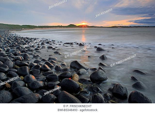 rocky coast in in Northumberland, United Kingdom, England