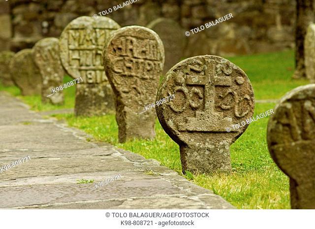 Funerary stelae by church of the Assumption, Etxalar. Navarra, Spain