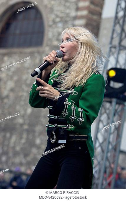 Italian singer Ivana Spagna performs during the event Metro Day. Brescia (Italy), march 5, 2017