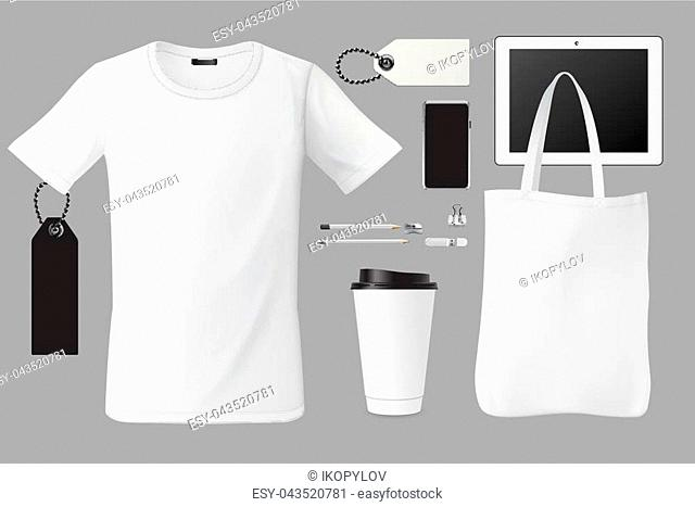 Brand identity template set business branding corporate mockup design, t-shirt, bag, coffee cup, tags, pen, card, touch screen device